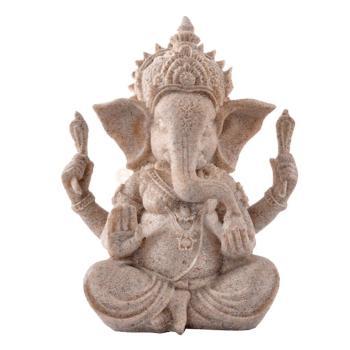 Ganesha sentado Buda piedra arenisca tallada a mano