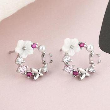 Pendientes colgantes de perlas coloridos para mujer
