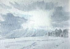 Snow on Aldeburgh beach no 1 116 x 81 mm