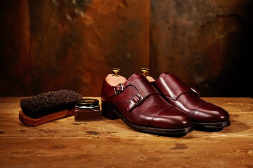 Still life with men's leather shoes and accessories for shoes ca