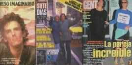 """""""El Flaco"""" en la tapa de tres revistas: el Expreso imaginario, con Vilas en Nueva York para Siete Días, y la famosa Gente con Carolina Peleritti (""""Leer basura daña la salud, lea libros"""")."""