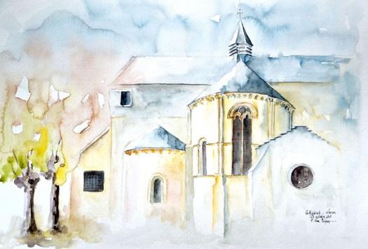à l'aquarelle, l'ancienne cathédrale de lescar, l'abside principale et l'absidiole sud