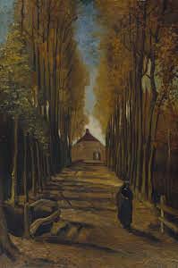 Viale di pioppi in autunno Vincent Van Gogh 1884