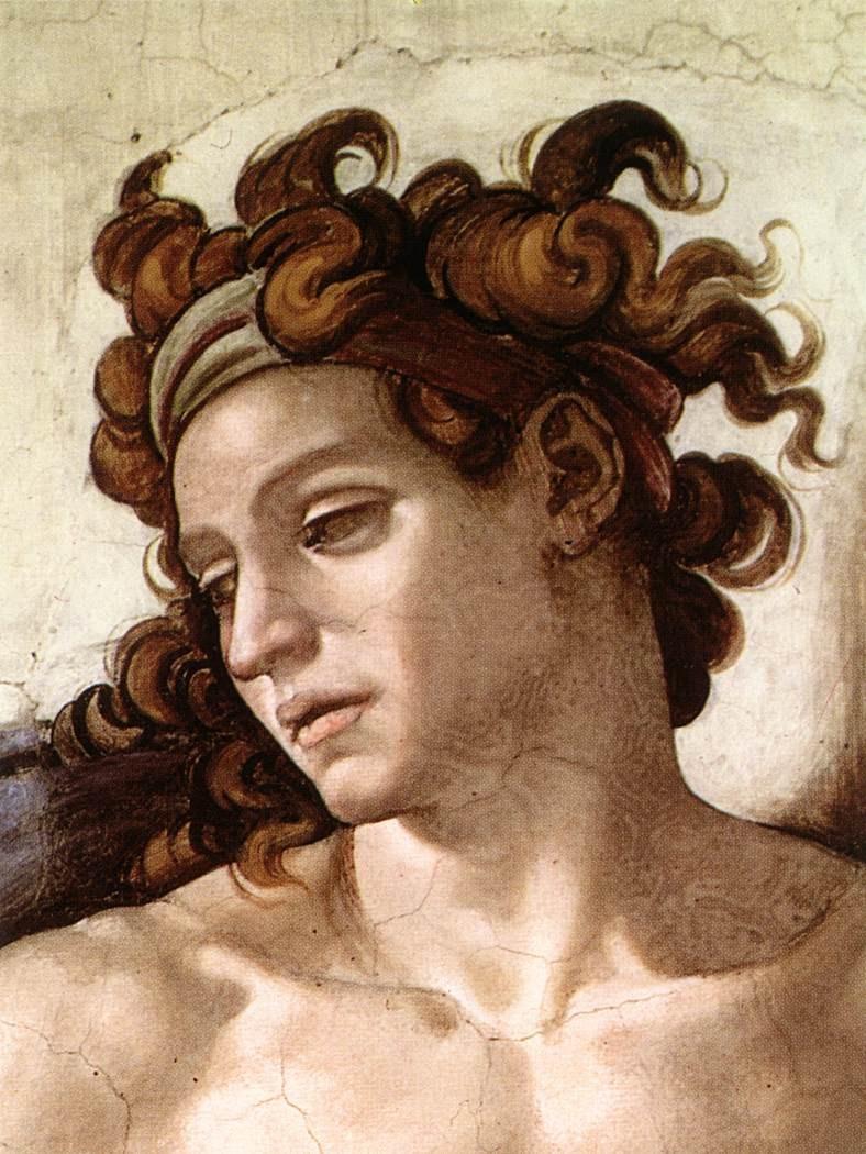 Particolare Ignudo Cappella Sistina Michelangelo Buonarroti 1509