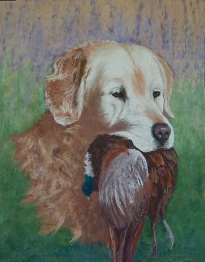 Joey w/Pheasant 20 x 16 Pastel