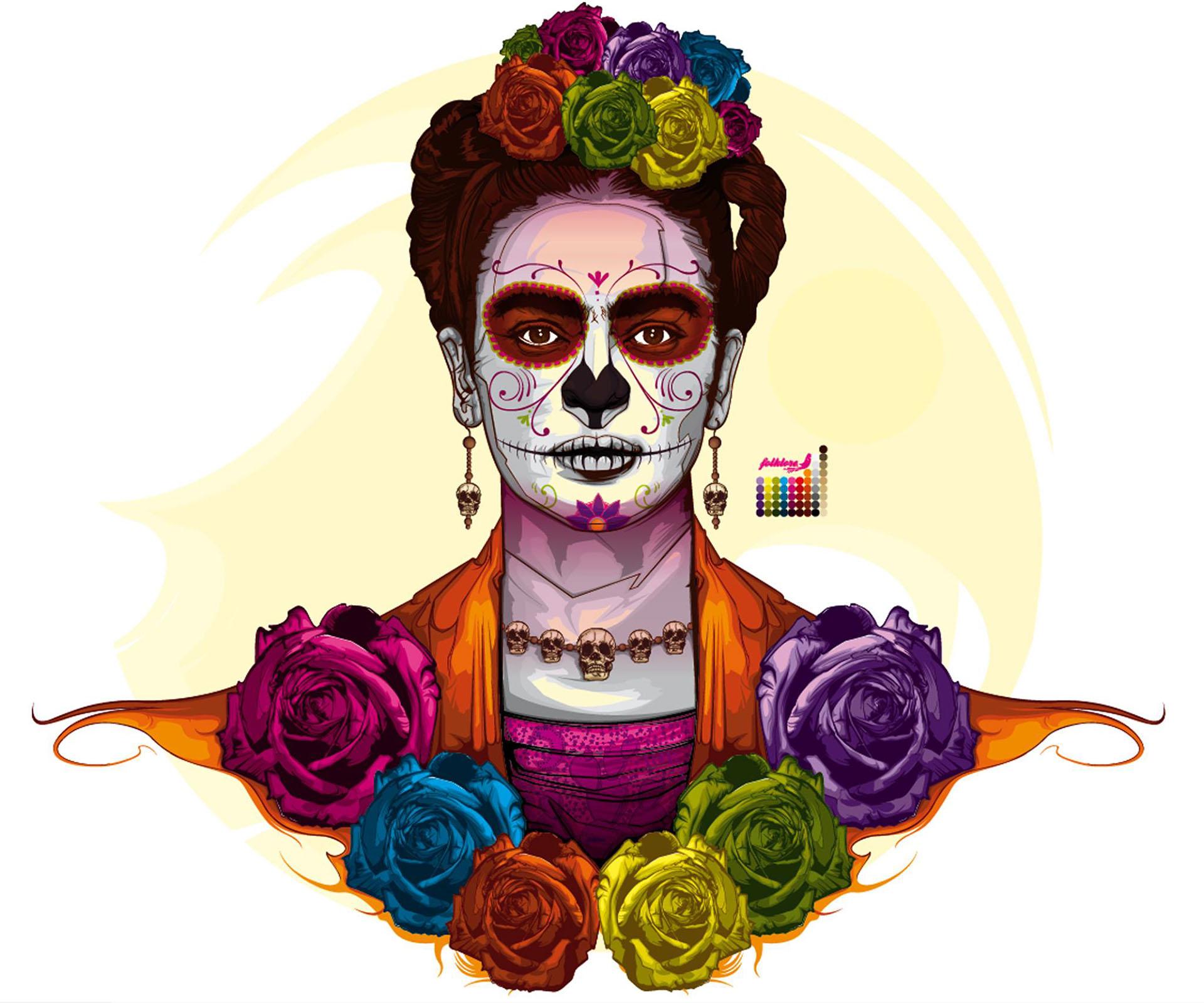 Frida Kahlo y La Catrina. La unión de dos iconos del arte mejicano.