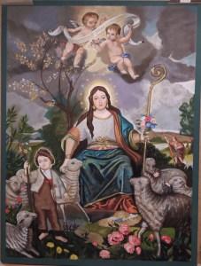 Cuadro pastoril de la Virgen y el Niño