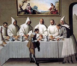 San Hugo en el Refectorio de los Cartujos - Francisco de Zurbarán - Museo de Bellas Artes de Sevilla