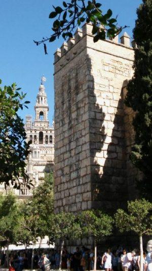 Giralda de Sevilla vista desde la Puerta del León de los Reales Alcázares - Rutas para pasear por Sevilla
