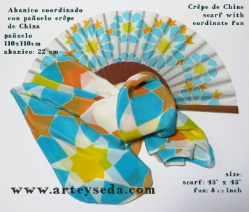 Alhambra (2), Hand painted silk scarf and fan by Arte y Seda (1431)