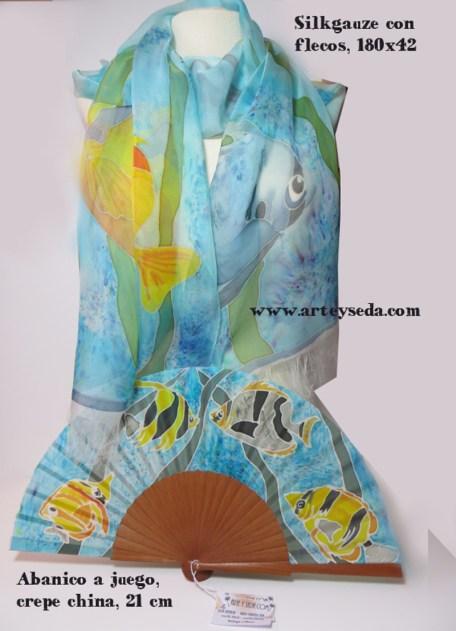 Tropical Reef (2), Hand painted silk scarf and fan by Arte y Seda (1433)