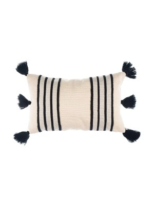 Arte y Tejido, Cojín Chennai Negro, Chennai Cushion Black,Chorrera, Cojín, Cushion, Tejido, Knitted, Crochet, Natural Fibers, Algodón, Cotton, Fibras Naturales, Chennai, Negro, Black