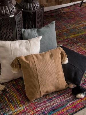 Arte y Tejido, Cojín Jaipur, Jaipur Cushion, Chorrera, Cojín, Cushion, Tejido, Knitted, Crochet, Natural Fibers, Algodón, Cotton, Fibras Naturales, Jaipur