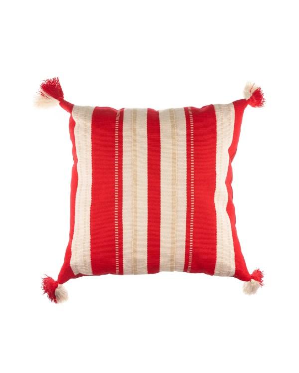 Arte y Tejido, Cojín Kanpur Rojo, Kanpur Cushion Red, Chorrera, Cojín, Cushion, Tejido, Knitted, Crochet, Natural Fibers, Algodón, Cotton, Fibras Naturales, Kanpur, Rojo, Red