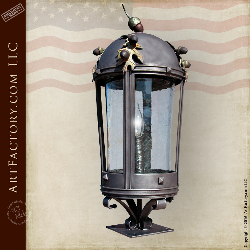 Custom Oak Leaves Post Lantern