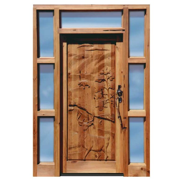 hand carved wilderness theme door