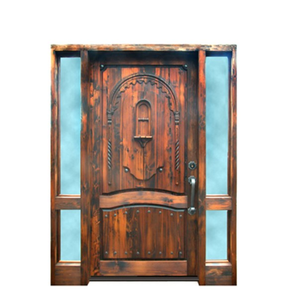 hand carved cedar door