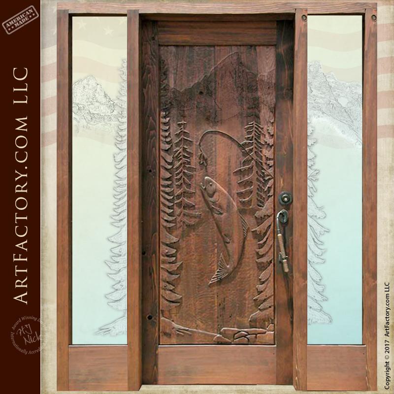 fishing theme carved wood door log cabin entrance door