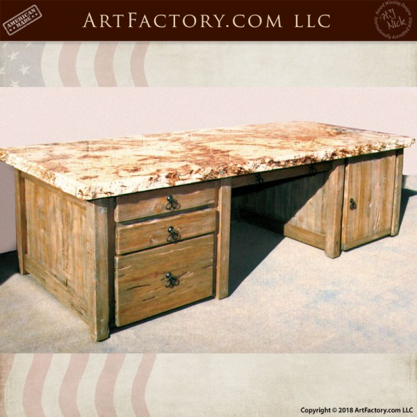 granite top wood desk