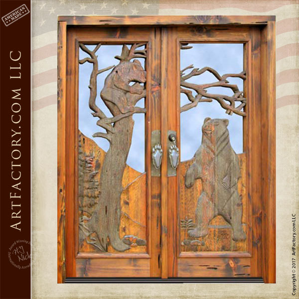 grizzly bear carved front door