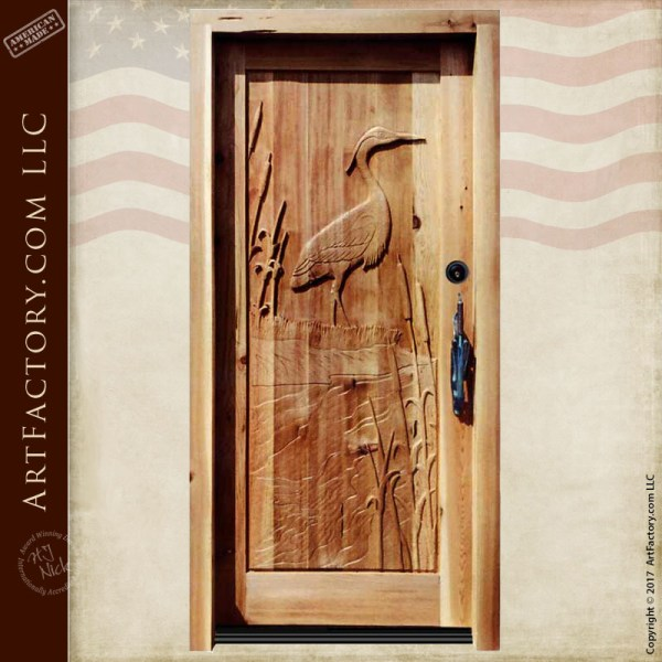 heron carved front door
