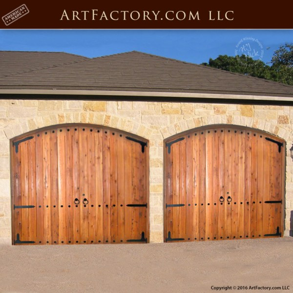 60 Residential Garage Door Designs Pictures: Solid Arched Carriage Style Design