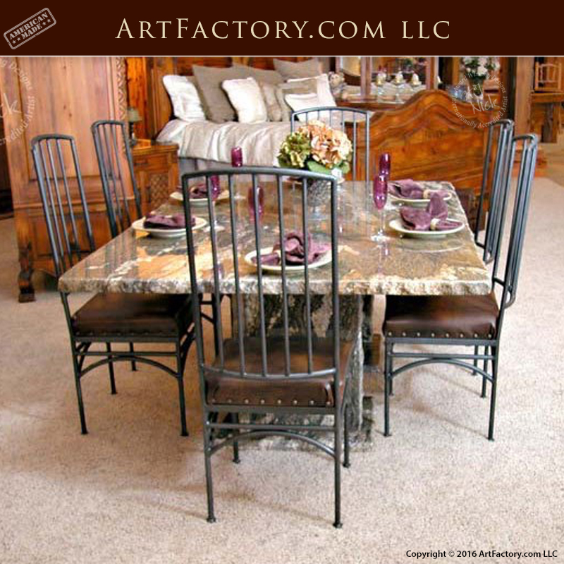 Solid Granite Dining Table With Blacksmith Hand Forged Iron Chairs