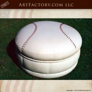 Leather Baseball Ottoman