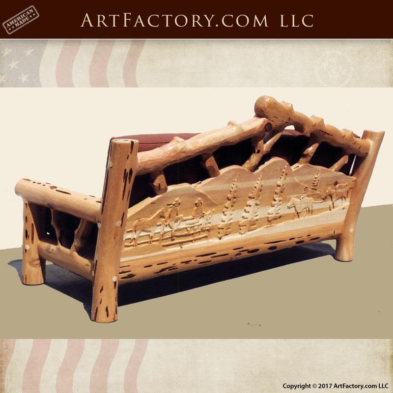 hand carved lodge sofa