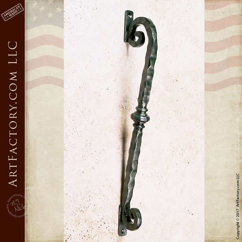 hand hammered scroll bar door handle