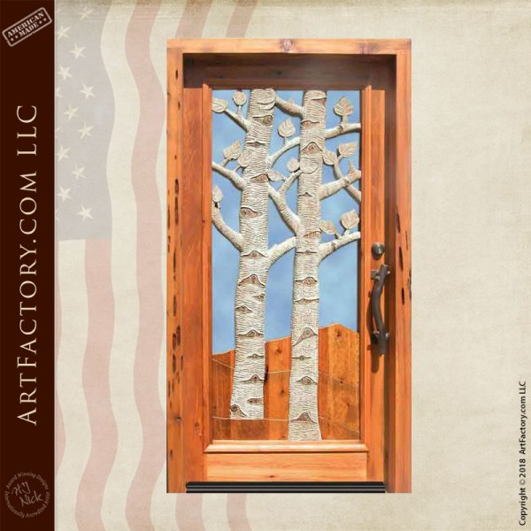 aspen trees carved door
