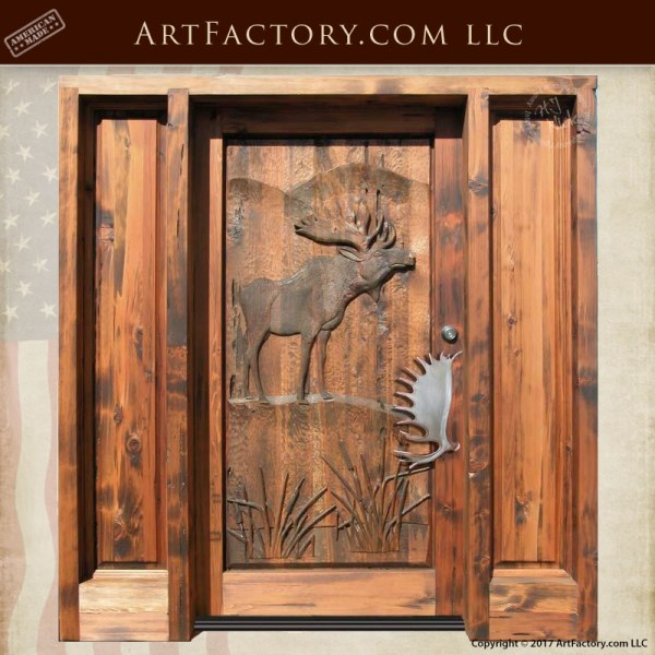 hand carved moose wood door