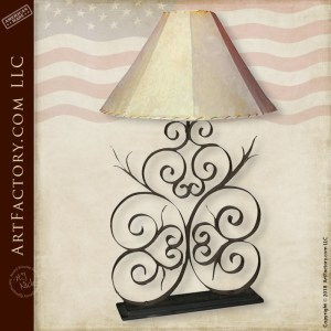 Fine Art Hand Forged Iron Lamp