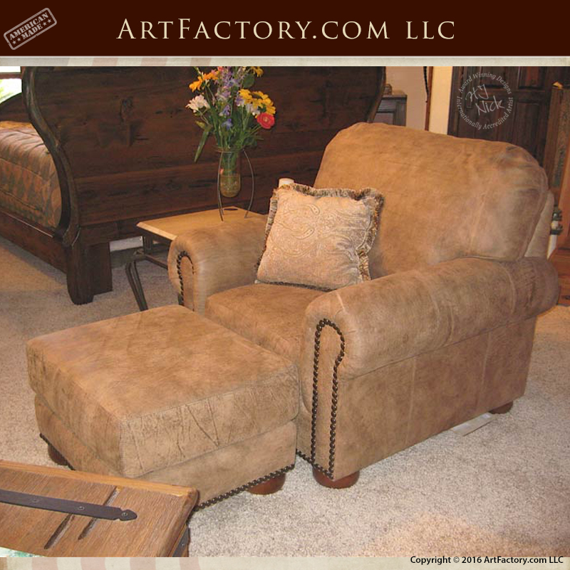 Custom Full Grain Leather Chair With Ottoman U2013 Duck And Goose Feather  Wrapped Cushions U2013 984000