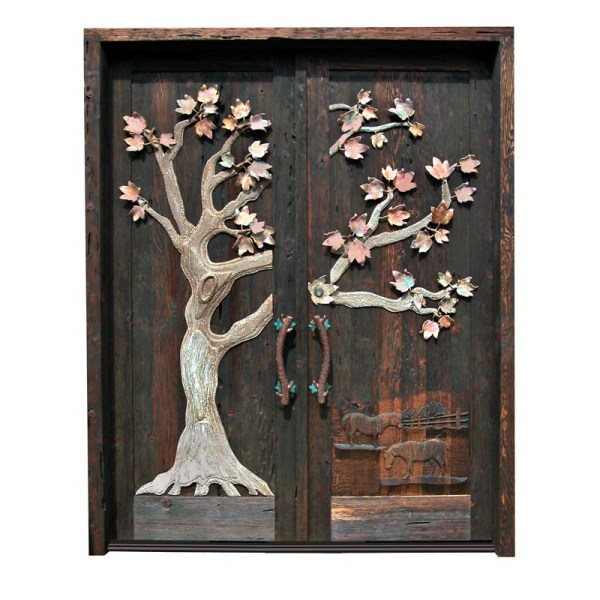 Grand Entrance Double Doors With Iron Maple Tree