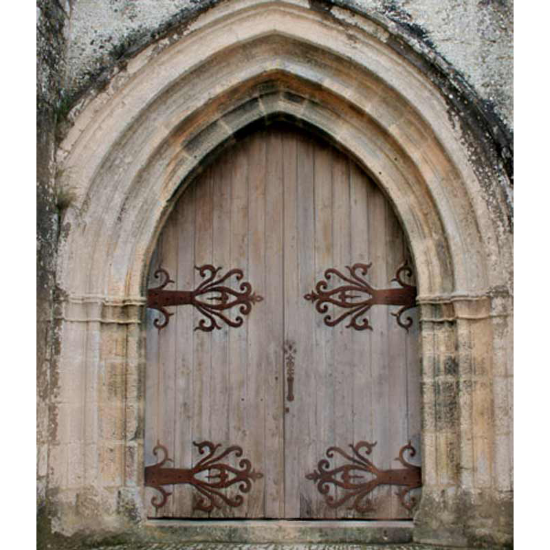 Gothic Style Castle Door With Decorative Wrought Iron