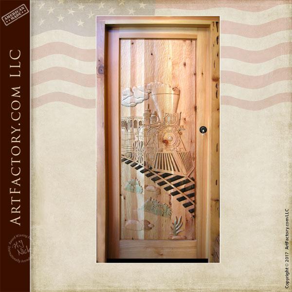 Silverton Train hand carved door