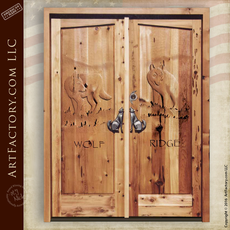 wolf carved front door wolf carved front door & Wolf Carved Front Door: Custom Themed Hand Carvings