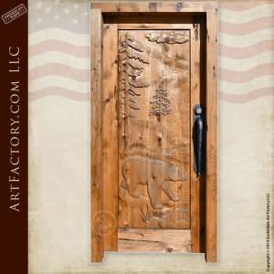 brown bear hand carved door
