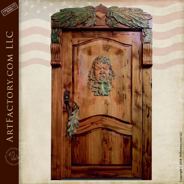 green man hand carved door