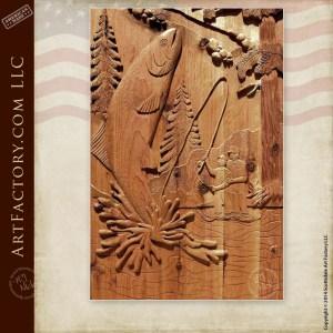 hand carved fishing door