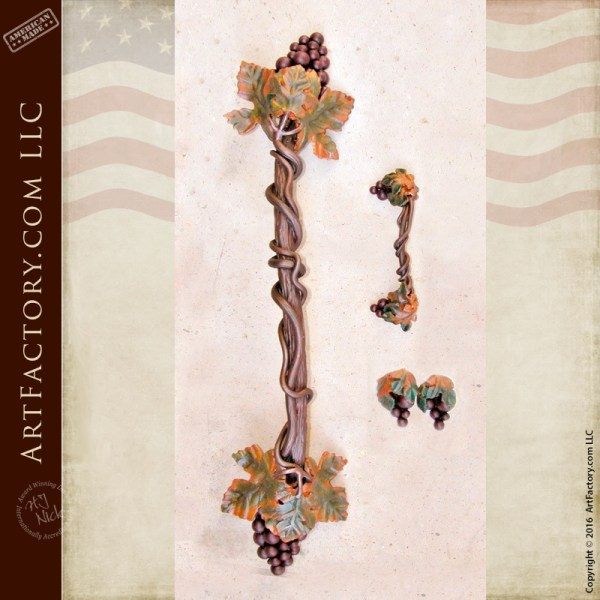 custom grape clusters vine door pull
