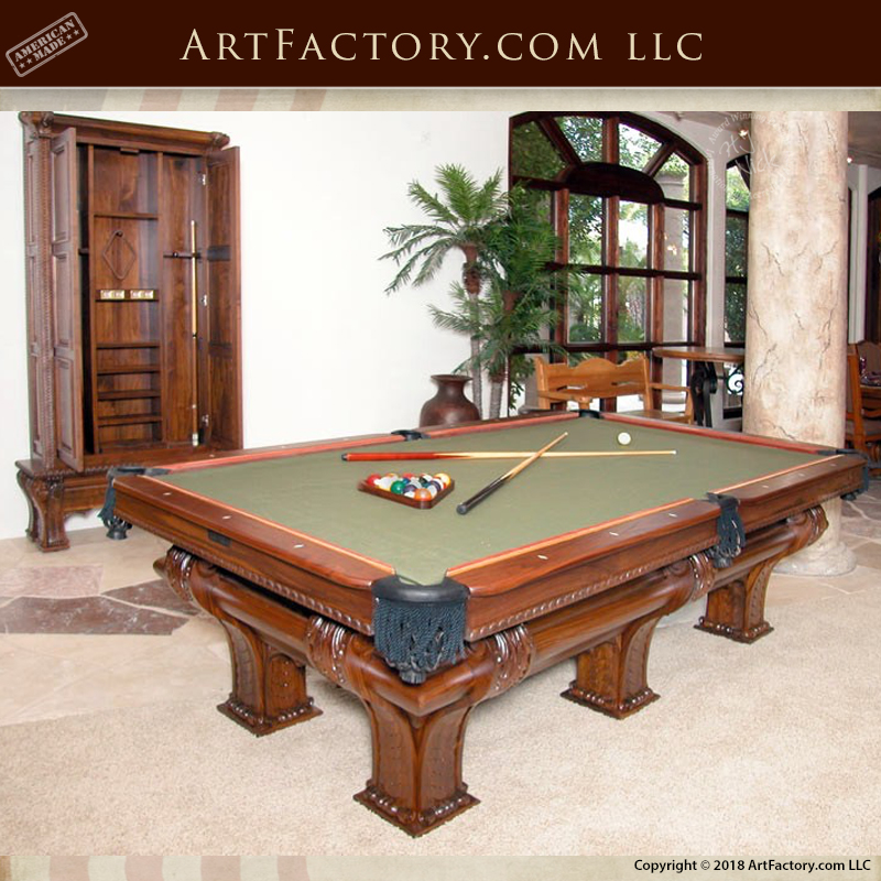 Custom Carved Walnut Pool Table