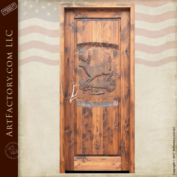 hand carved deer wooden door