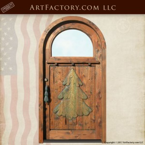 Thomas Kinkade Cottage Inspired Door: Hand Carved Christmas Tree