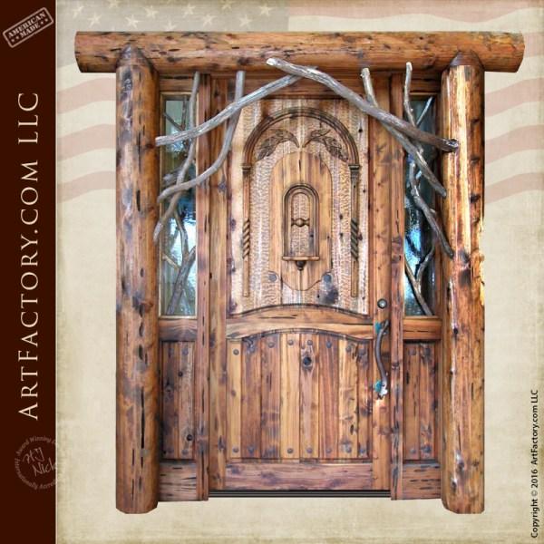 Rustic Log Cabin Door: Custom Solid Wood Entrance Doors