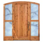 custom carved wood glass door