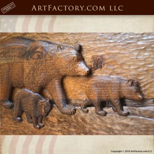 master hand carved shuffleboad table bear with cubs carving