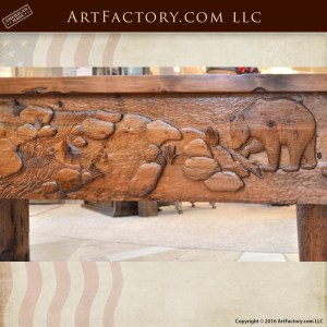 master hand carved shuffleboard table