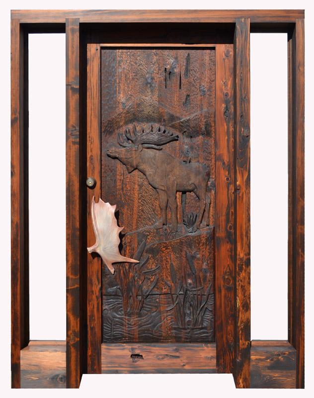 hand carved moose door